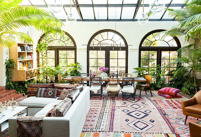 rug color Katie Tarses bohemian design Spanish-Style Hollywood Hills Home