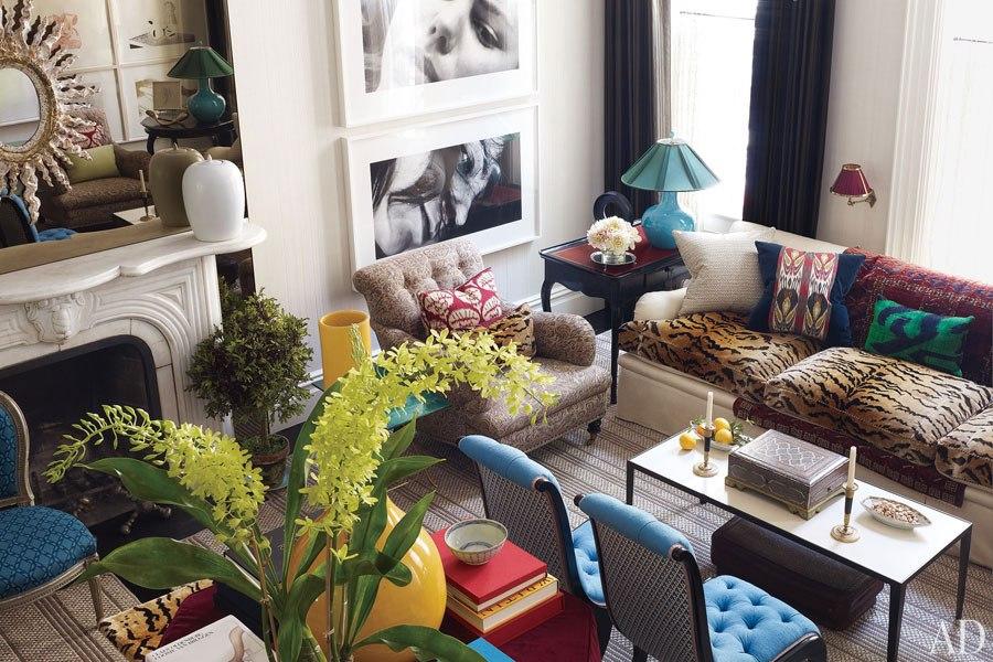 tiger stripe sofa cushions fireplace living room - jeffrey-bilhuber-trey-laird-03-living-room