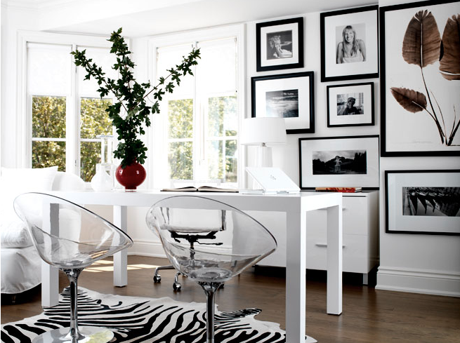zebra cowhide rug white parsons desk lucite chairs office