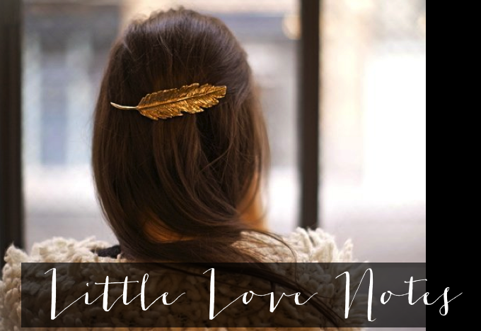 Little Love Notes links gold feather hair clip barrette _ glitterinc.com