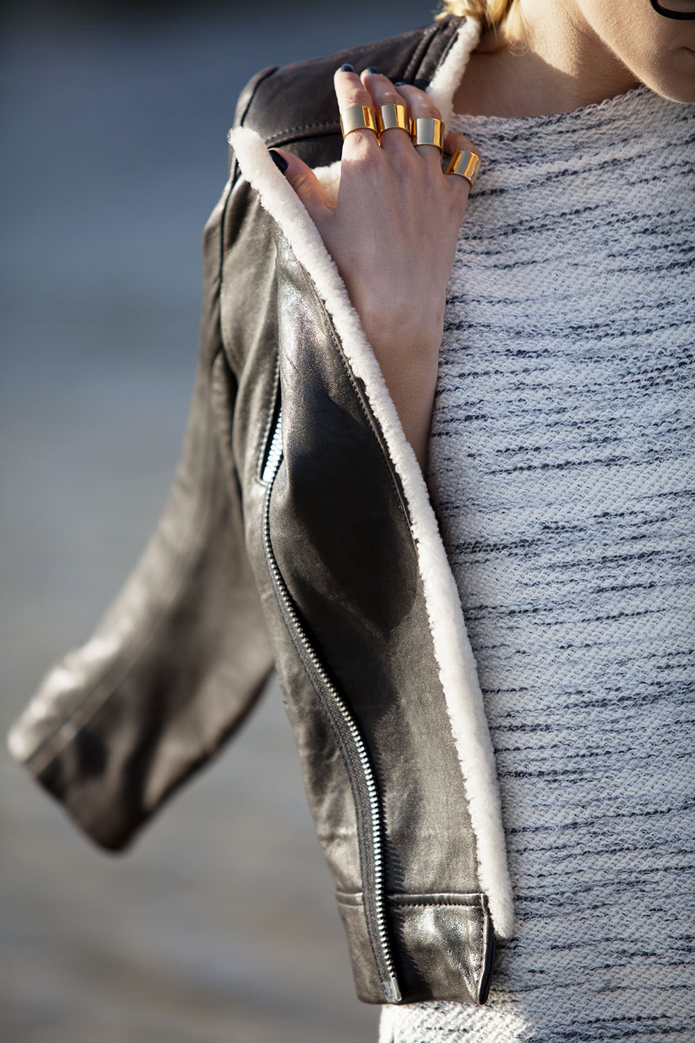 Luv_AJ_Gold_Cuff_Rings_leather jacket sweater