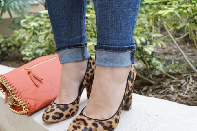 T.J.Maxx Maxxinista Lexi jeans leopard jcrew heels pumps orange designer purse _ glitterinc.com