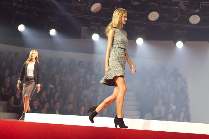 Target fashion show fall tailored look dress booties heels