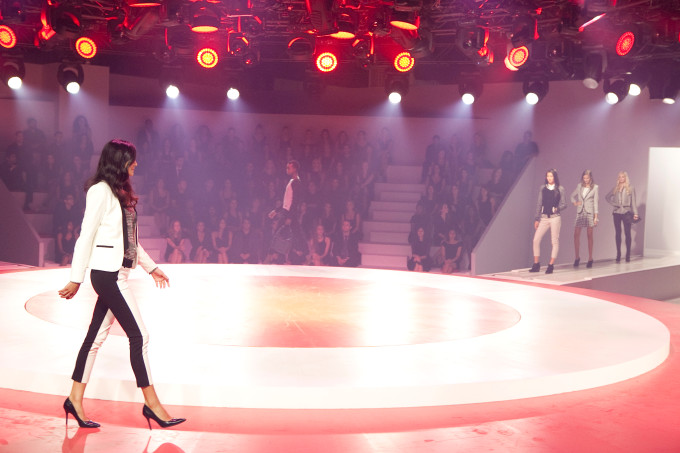 Target fashion show fall tailored look white black tuxedo pants blazer heels