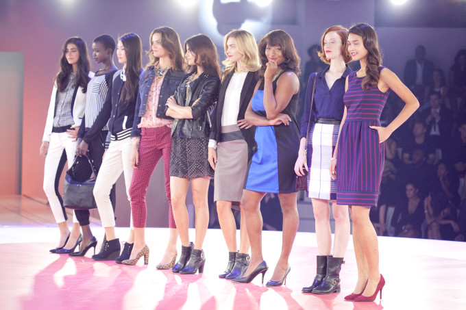 Target fashion show fall tailored look white black tuxedo pants blazer heels dresses blzer jacket