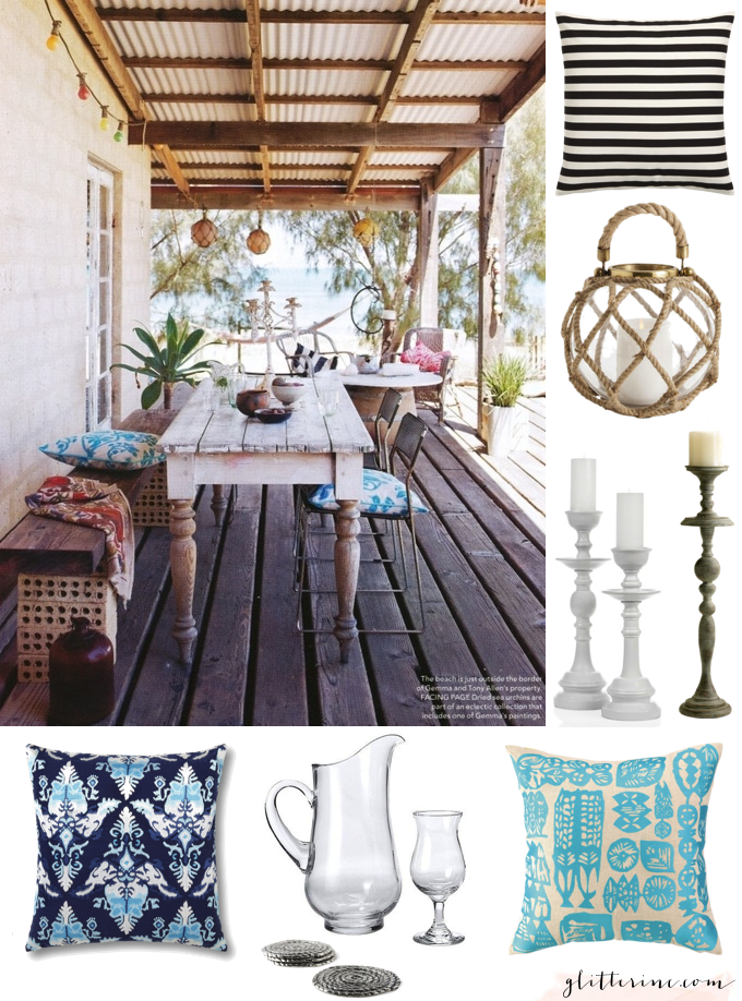beach patio porch dinner party turquoise pillow striped pillows rope lamp candle candelabra _ glitterinc.com