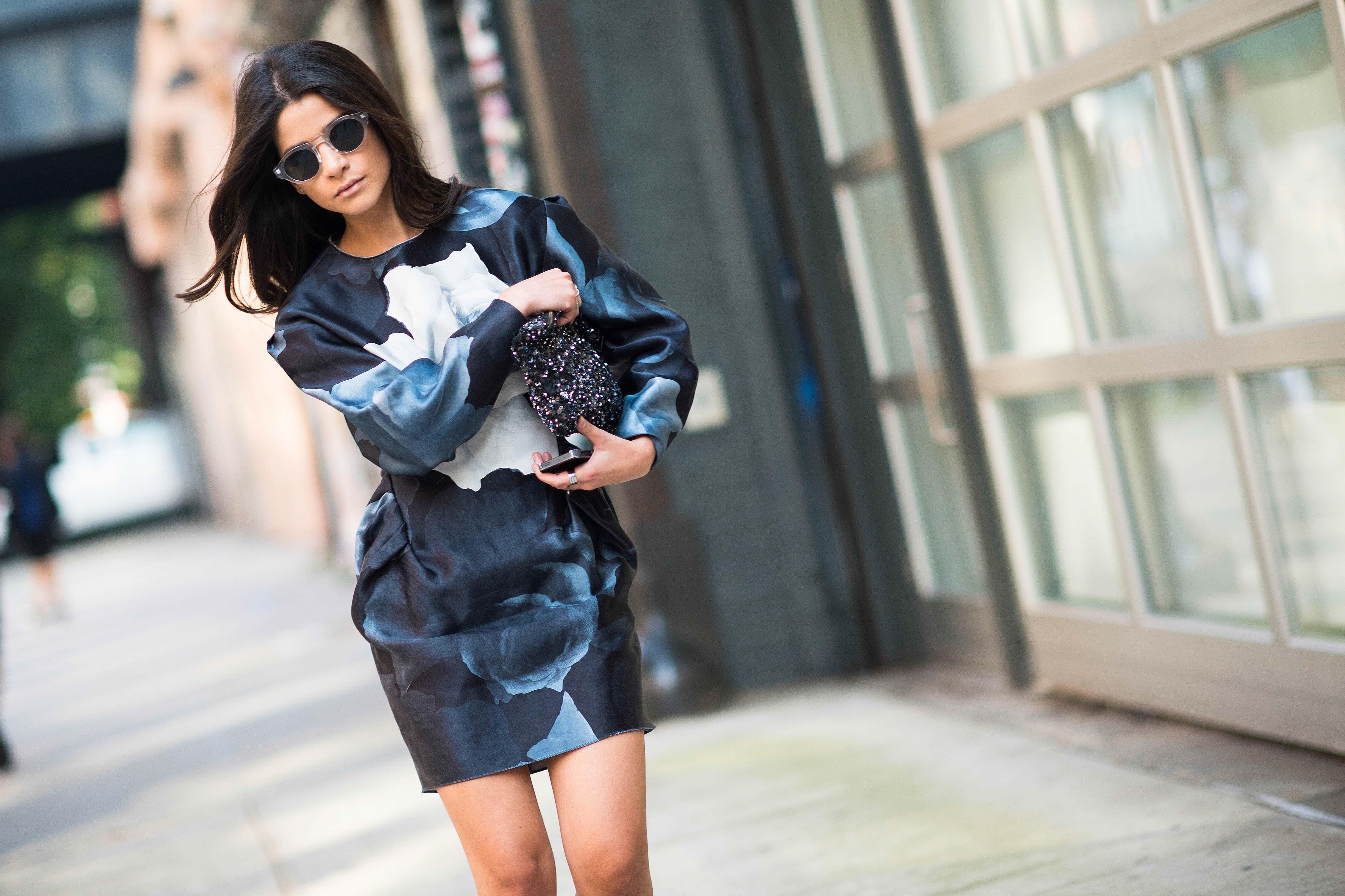 new-york-fashion-week-spring-2014-street-style-blue floral dress