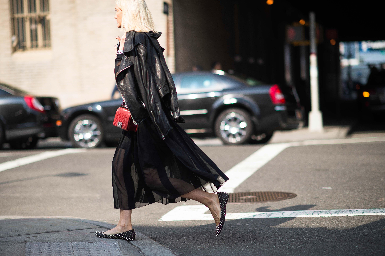 new-york-fashion-week-street-style-black sheer dress leather jacket studded flats