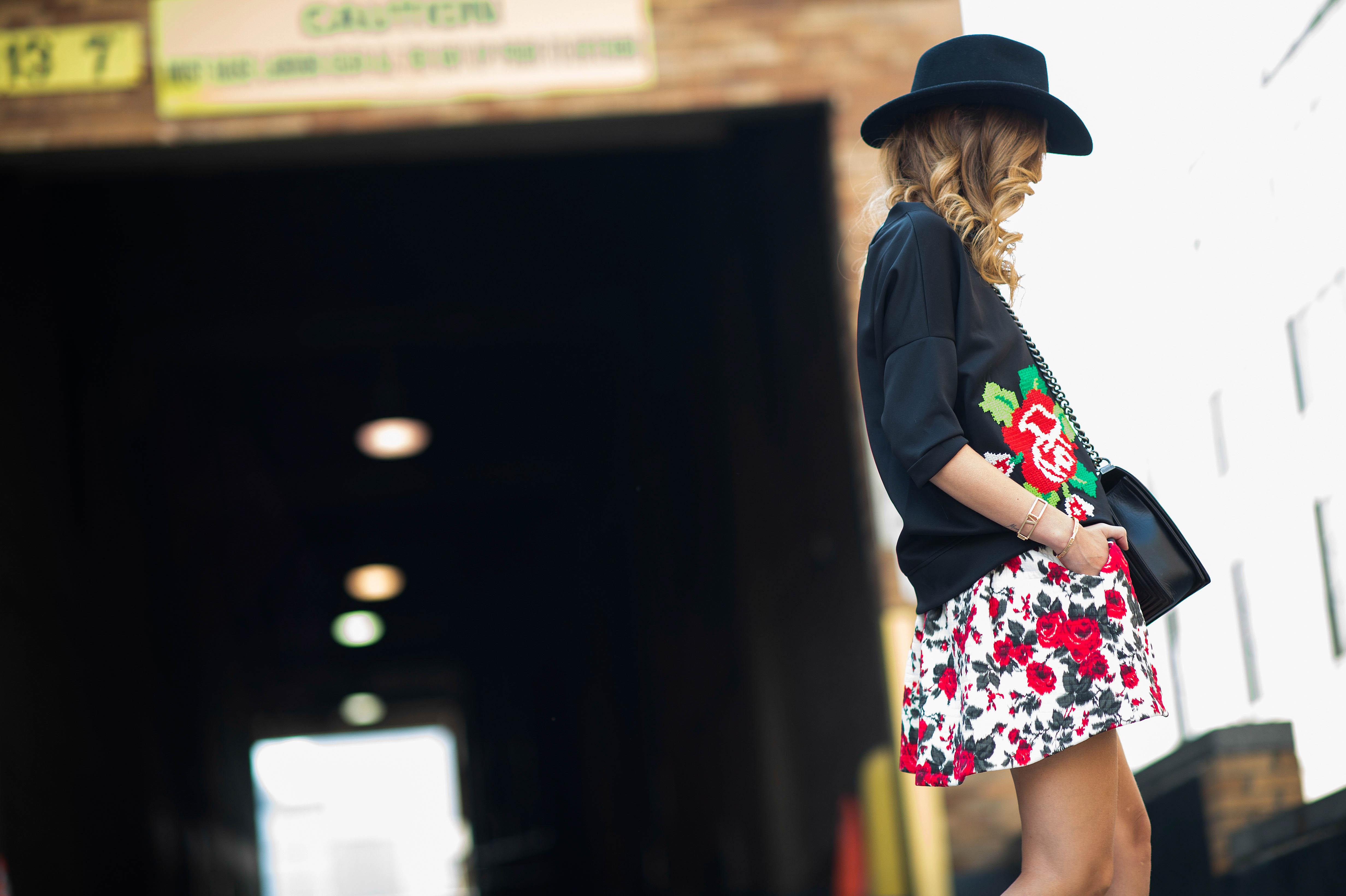 new-york-fashion-week-street-style-rose print dress sweater