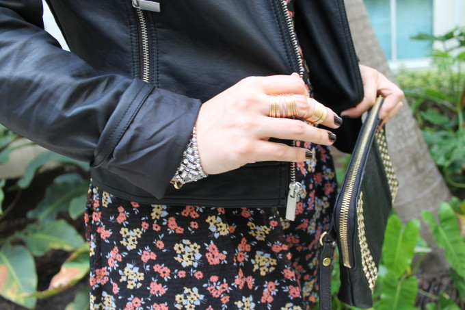 t.j.maxx maxxinista outfit leather jacket free people tunic dress studded clutch gold rings fall _ glitterinc.com