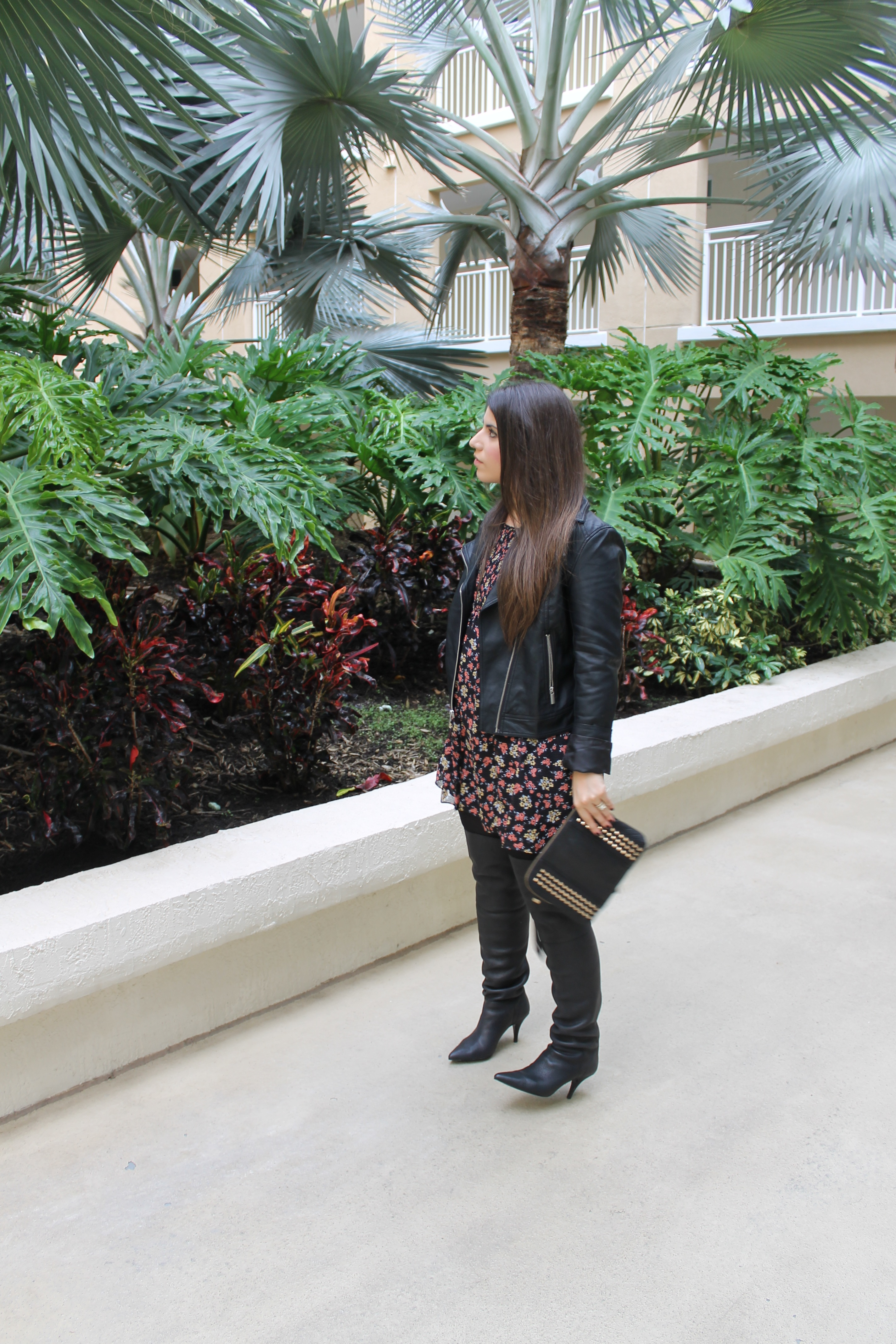 t.j.maxx maxxinista outfit leather jacket free people tunic dress studded clutch gold rings fall lexi _ glitterinc.com
