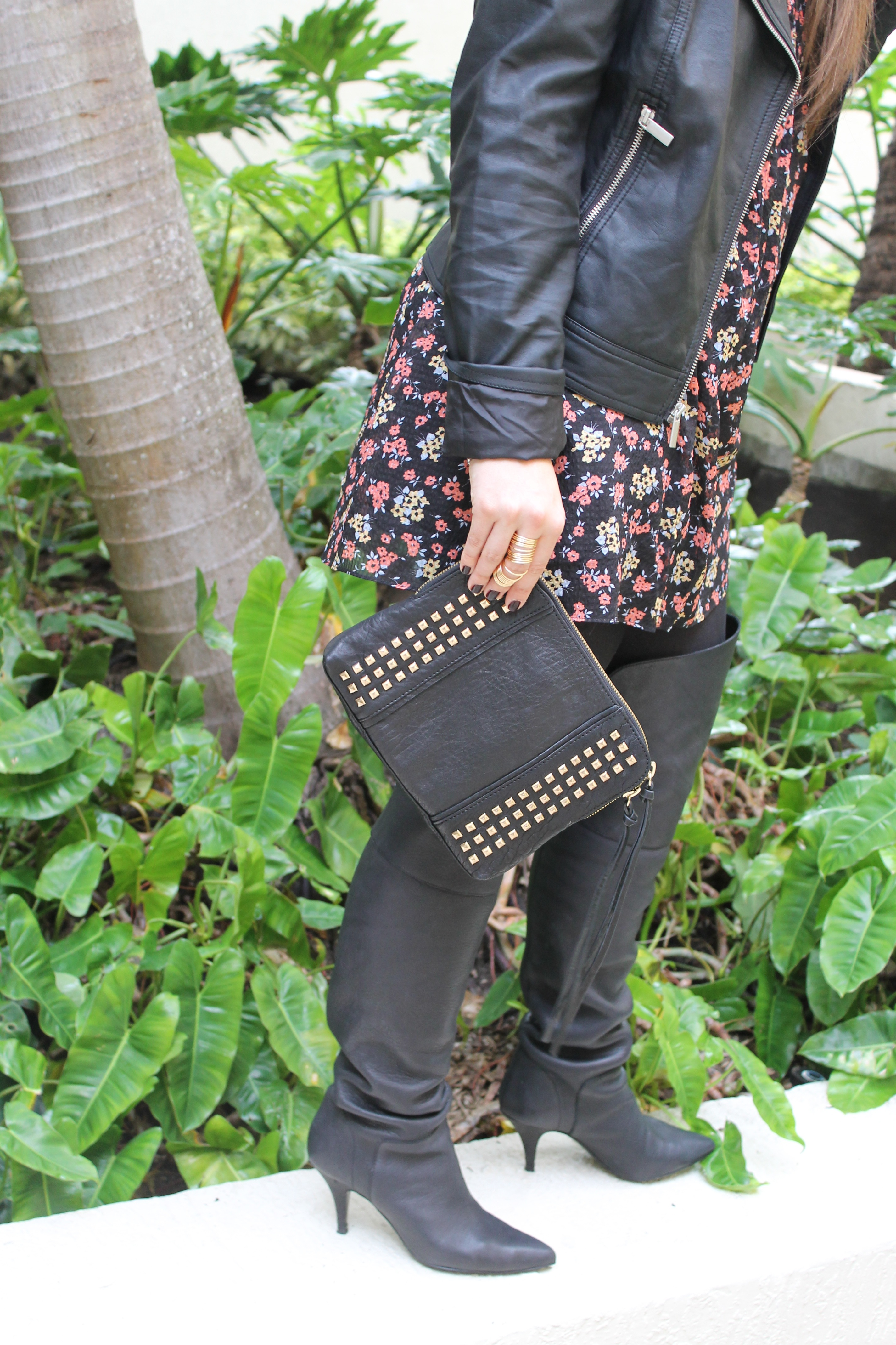 t.j.maxx maxxinista outfit leather jacket free people tunic dress studded clutch gold rings over-the-knee black boots fall _ glitterinc.com