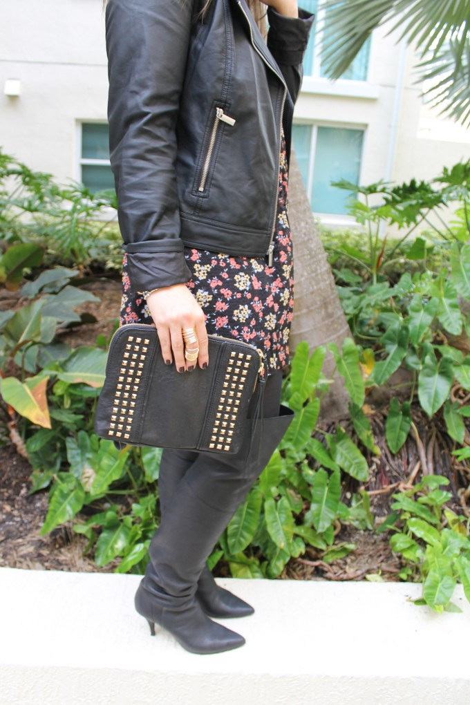 t.j.maxx maxxinista outfit leather jacket free people tunic dress studded clutch gold rings over-the-knee boots fall _ glitterinc.com