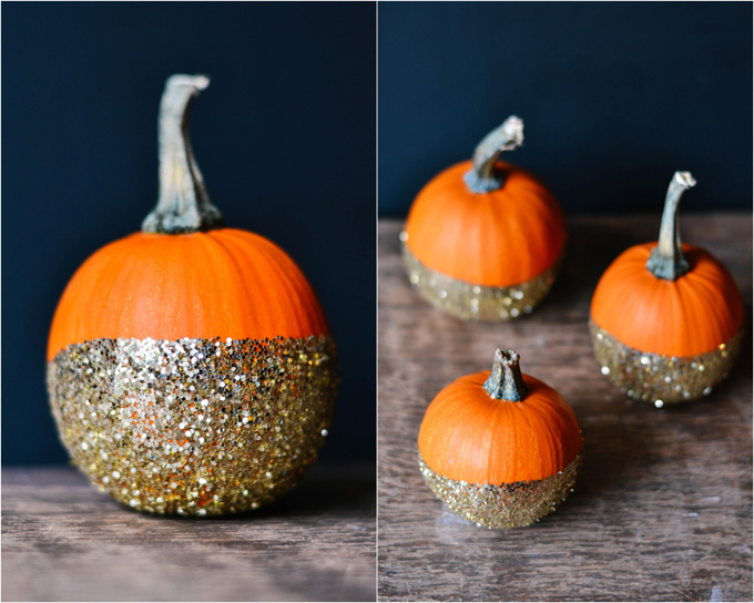 How to make your very own sparkly DIY dip-dye glitter pumpkins for halloween, Thanksgiving, and all of your favorite fall festivities! #glitterpumpkins #diypumpkins #dipdyepumpkins #decoratedpumpkins #sparklypumpkins Click through for the details. | glitterinc.com | @glitterinc
