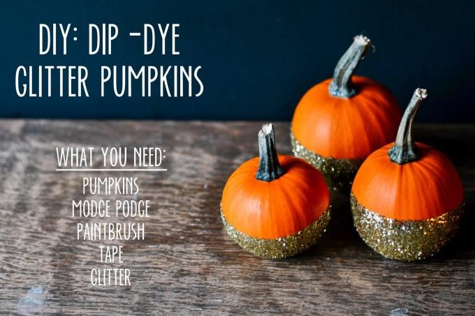 DIY glitter pumpkins halloween craft gold _ glitterinc.com