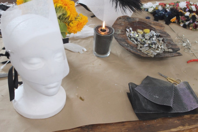 DIY mask masquerade halloween jewels mesh styrofoam _ glitterinc.com