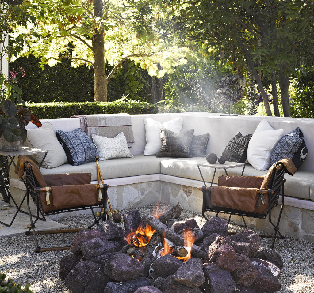 Garden fire pit outside patio backyard ocean malibu beach house cottage