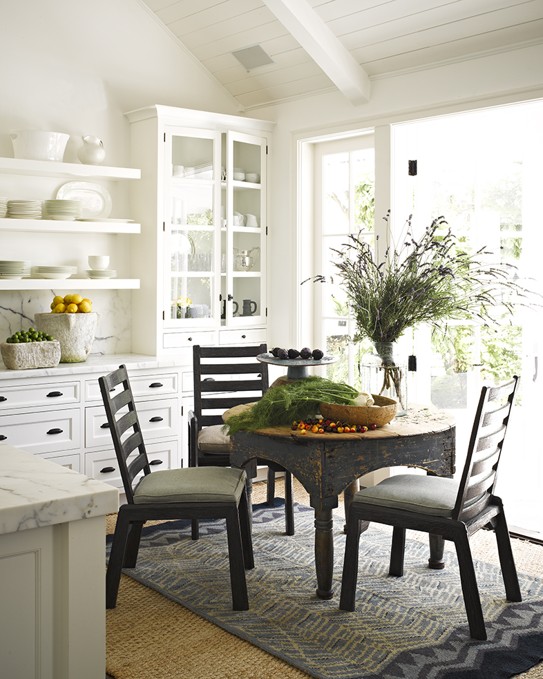 Kitchen breakfast nook dining ocean malibu beach house cottage