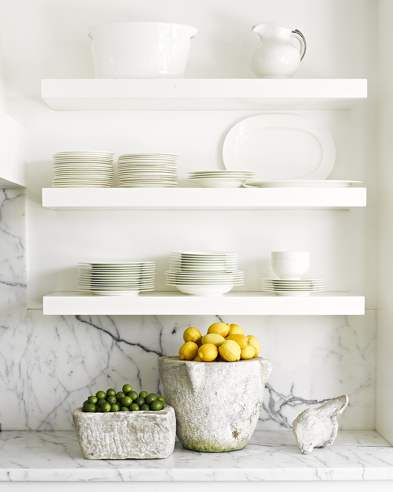 Kitchen shelves ocean malibu beach house cottage