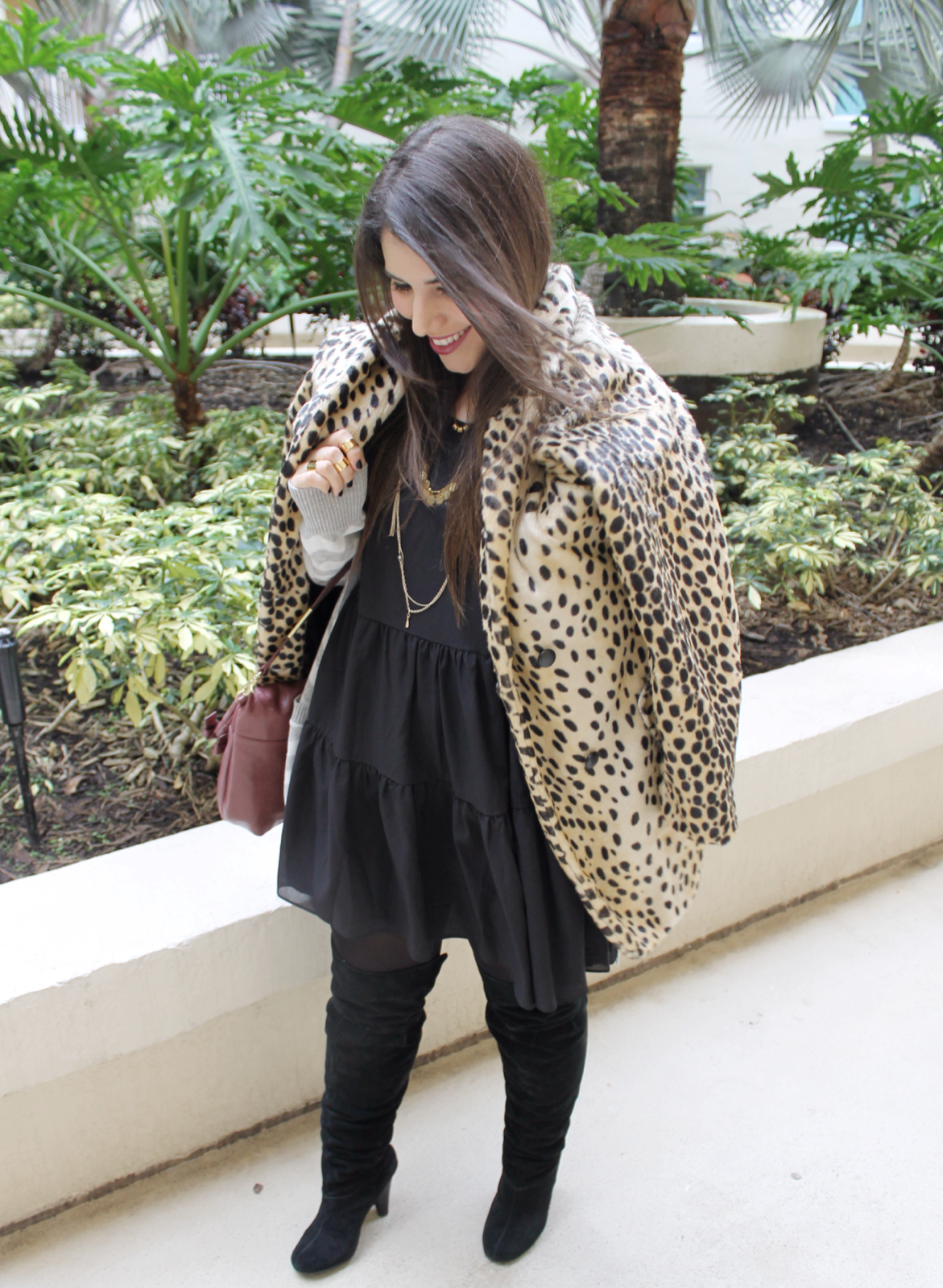 T.J.Maxx Fall Layering #Maxxinista leopard coat chevron cardigan gold necklaces foley corinna wine bag necklaces gold rings knuckledusters over-the-knee boots _ glitterinc.com 11