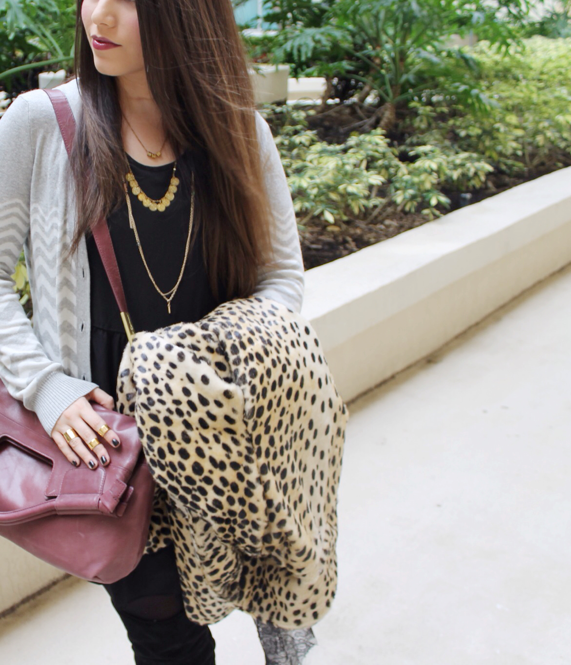 T.J.Maxx Fall Layering #Maxxinista leopard coat chevron cardigan gold necklaces foley corinna wine bag necklaces gold rings knuckledusters over-the-knee boots _ glitterinc.com