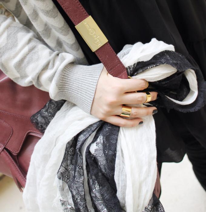 T.J.Maxx Maxxinista fall layering lace scarf foley corinna wine bag chevron cardigan black dress lovers friends gold knuckleduster rings luv aj _ glitterinc.com