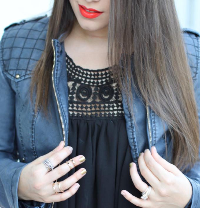 T.J.Maxx maxxinista black crochet swing dress mixed media metallis nails polish rings red lips lipsticl leather jacket _ glitterinc.com