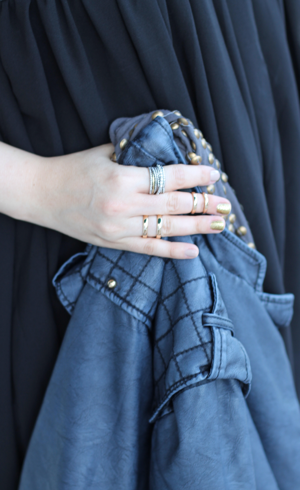 T.J.Maxx maxxinista lexi little black swing dress navy leather quilted jacket rings nail olish studded scarf _ glitterinc.com