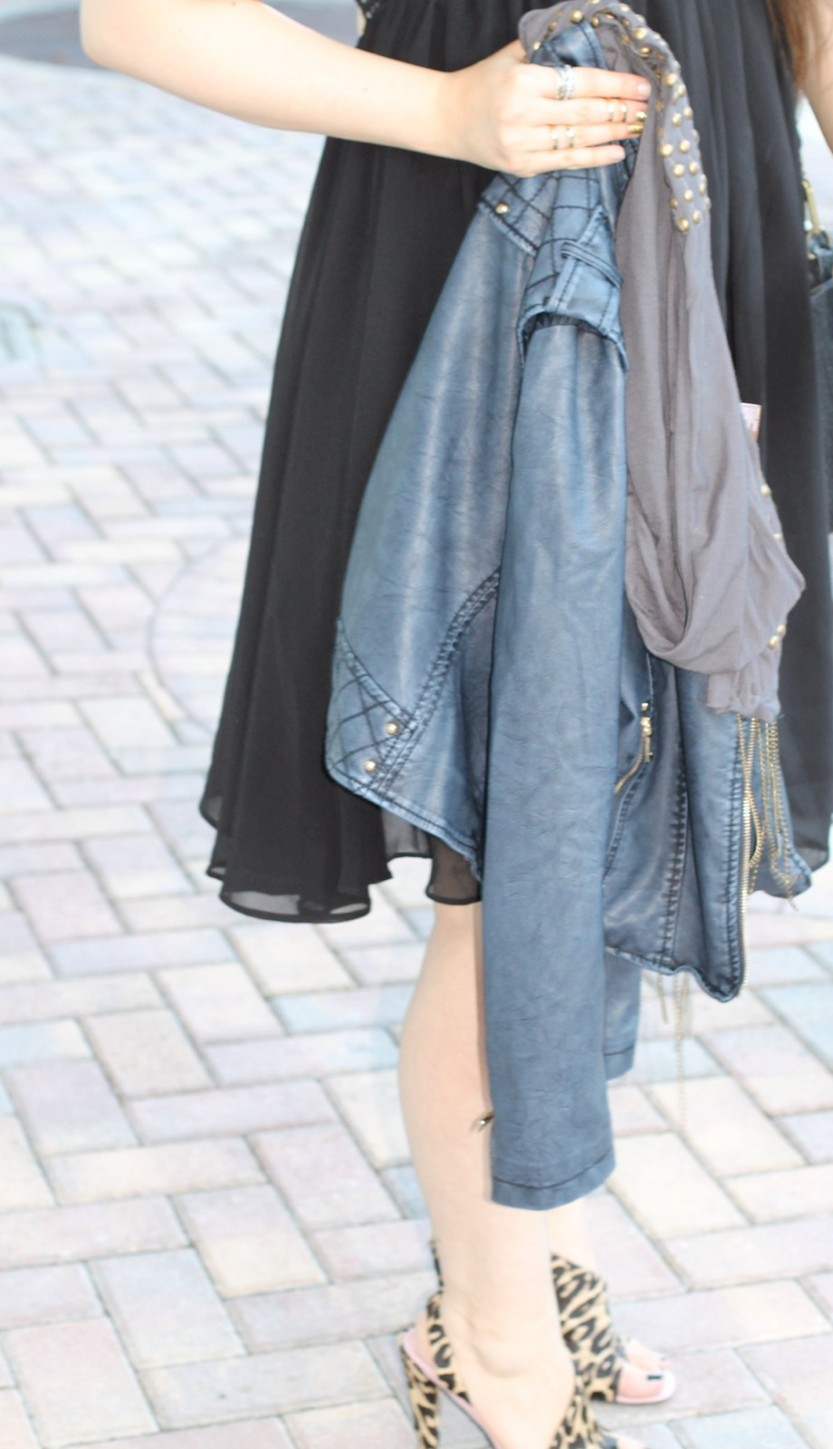 T.J.Maxx maxxinista lexi little black swing dress navy leather quilted jacket studded scarf leopard sandals street style standing _ glitterinc.com