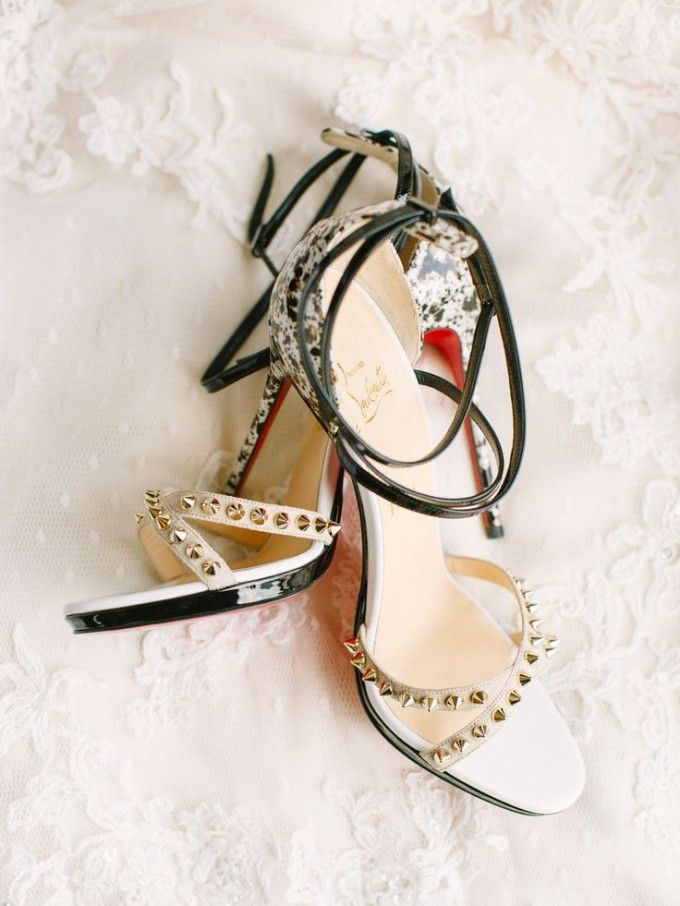 christian louboutin wedding shoes heels black speckled red studs spikes gold bride