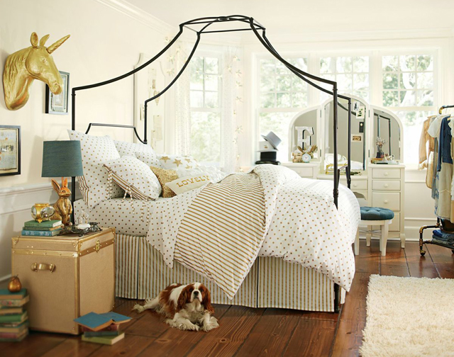 pbteen emily meritt unicorn bedroom gold dots chest