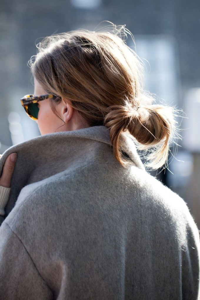 street style grey fuzzy coat karen walker sunglasses