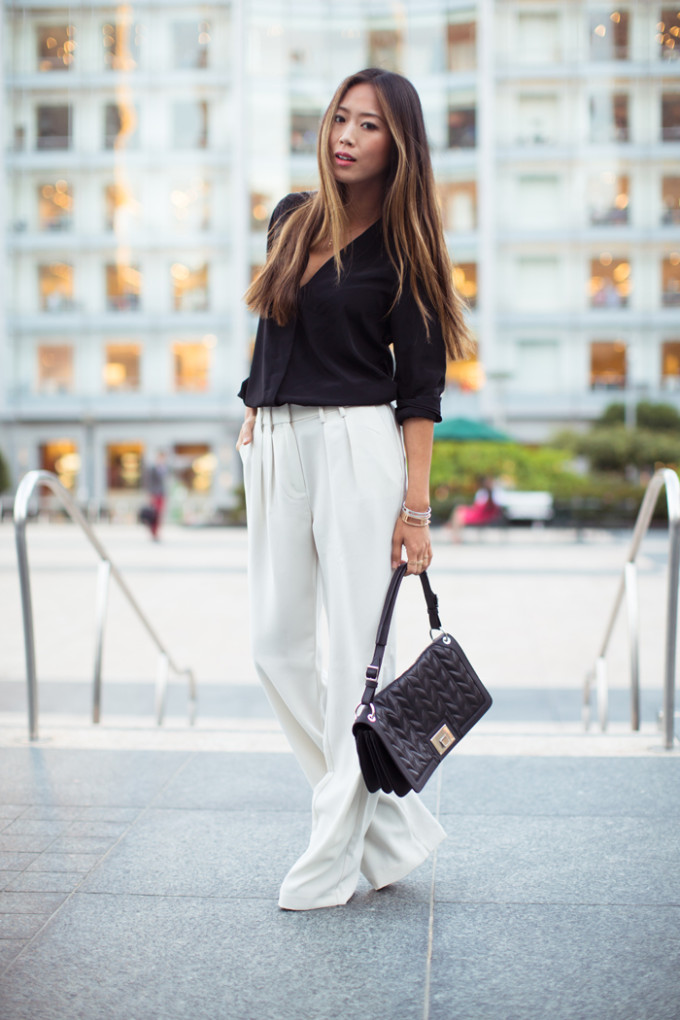 street style wide leg pants trousers cream
