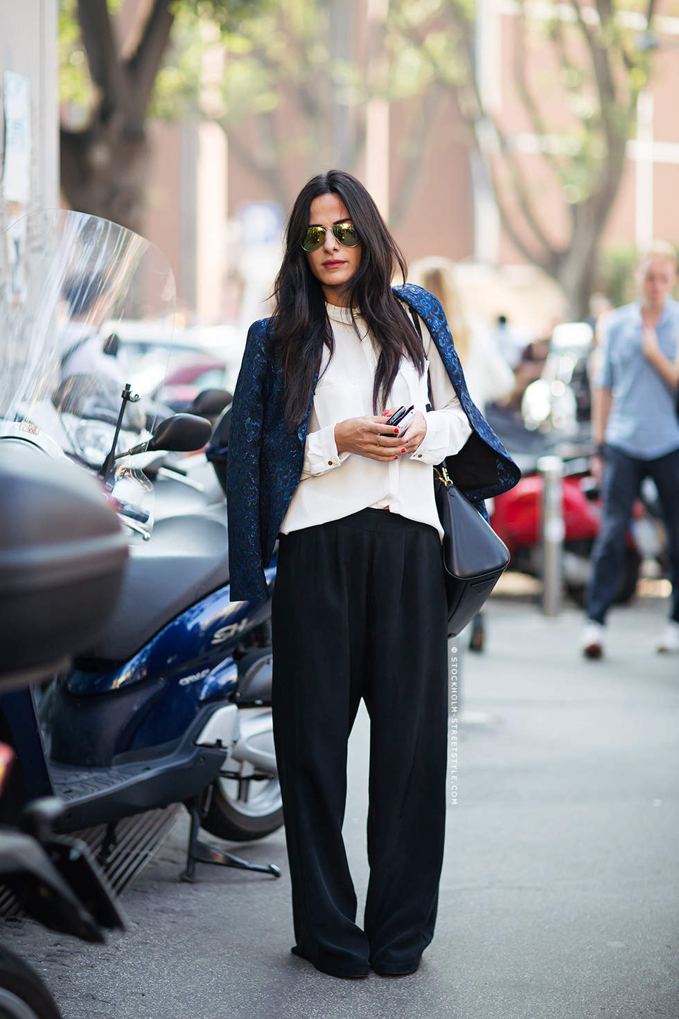 street style wide leg trousers fall winter fashion