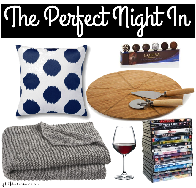 the perfect night in date godiva truffle flights dvd stack pizza board blanket pillow wine _ glitterinc.com