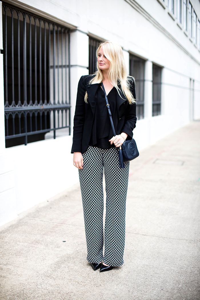 theory wide leg trousers pants gucci disco bag street style