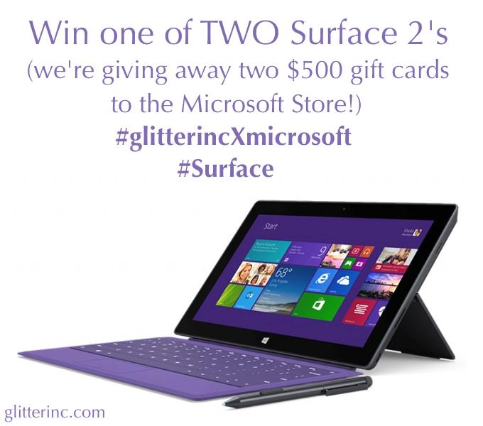 win microsoft surface 2 $500 gift card #surface #glitterincXmicrosoft _ glitterinc.com
