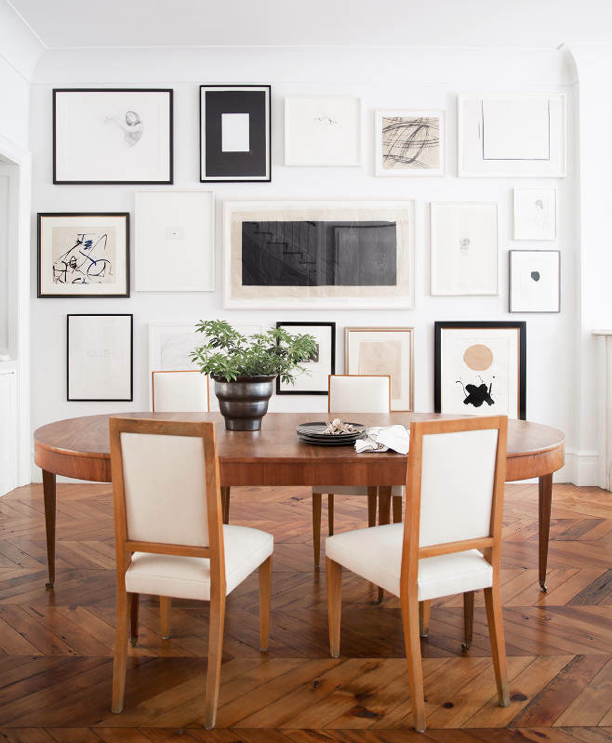 Ali Cayne NYC townhouse home Greenwich Village dining room gallery wall
