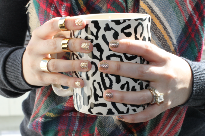 metallics essie gold nail stickers decals polka dots zara soft plaid checkered scrf luv aj rings gold leopard mug 2 _ glitterinc.com