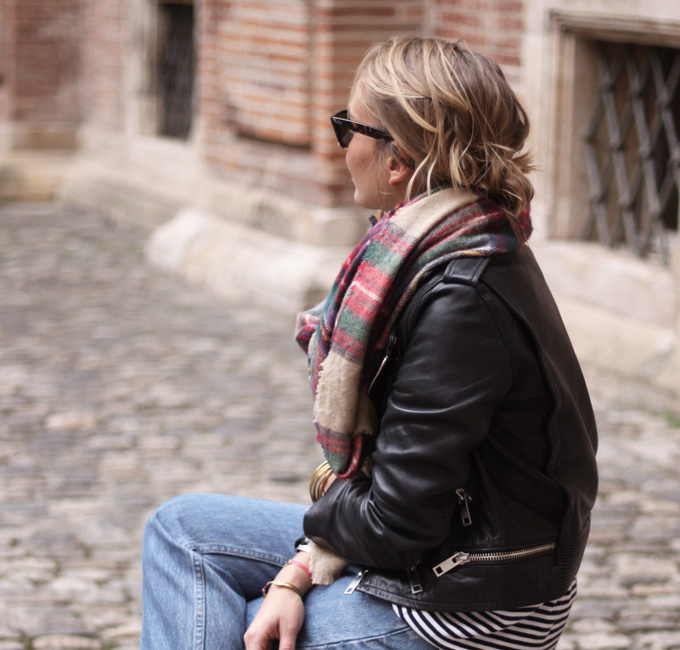 plaid zara soft checkered scarf tartan leather jacket boyfriend jeans street style fashion _ glitterinc.com