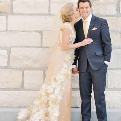 Stunning Gold + Cream Wedding Dress