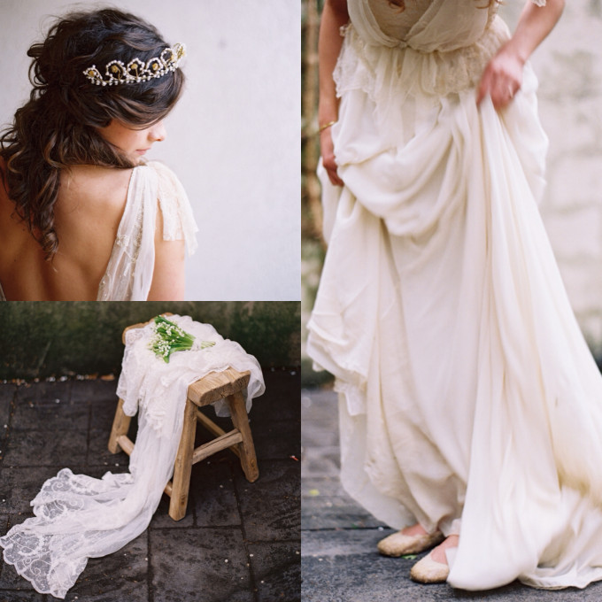 indie bohemian backless dress floral crown veil wedding roost