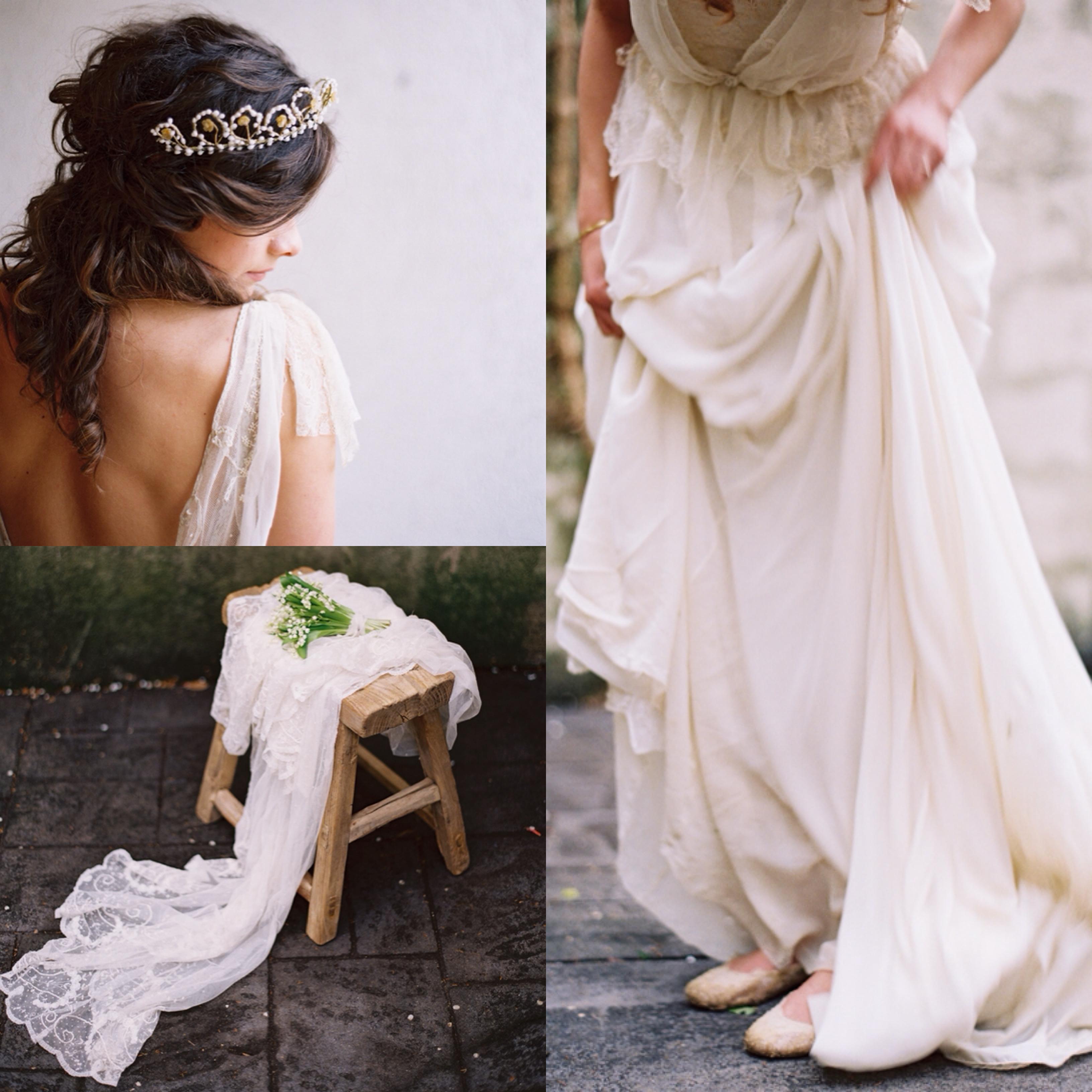 indie bohemian backless dress floral crown veil wedding roost