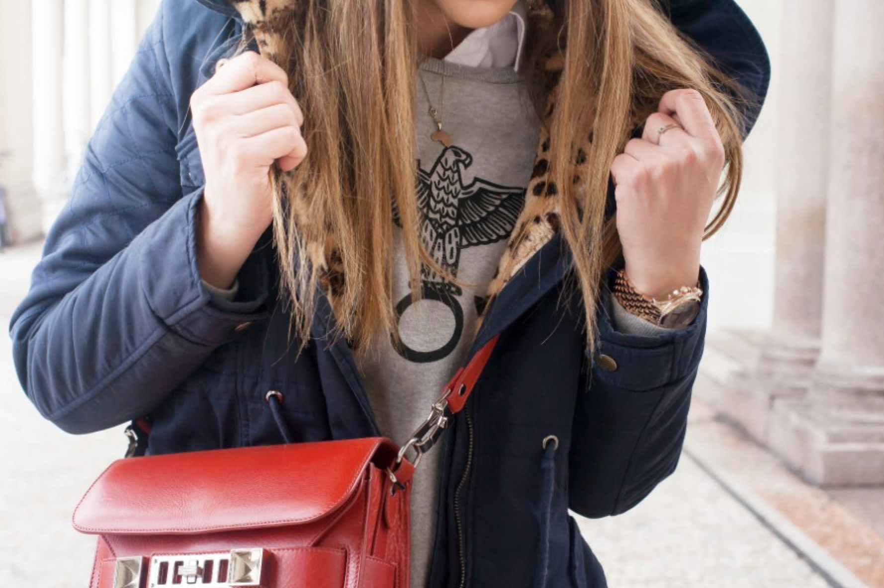 leopard parka navy red proenza bag street style necklace