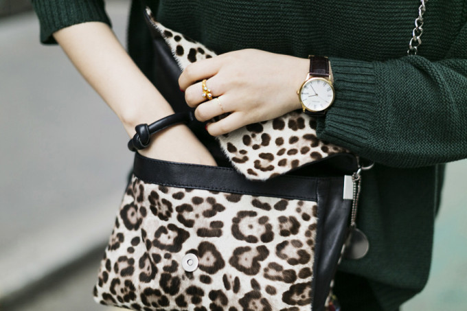leopard purse bag sweater nails rings ParknCube