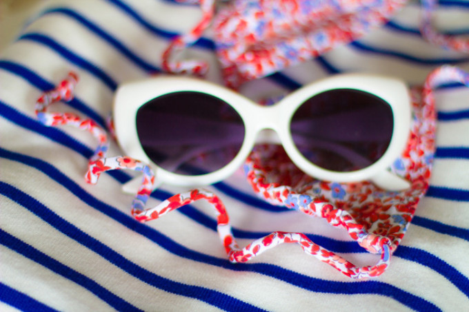 white sunglasses stripes blue red nautical