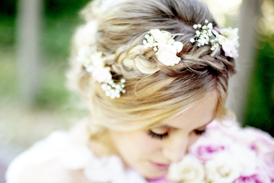 flowers in her hair romantic braided bridal style glitter inc. Black Bedroom Furniture Sets. Home Design Ideas