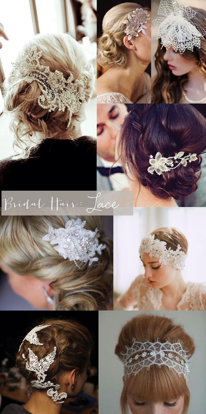 bridal hair lace headpiece veil hairstyle wedding bride _ glitterinc.com