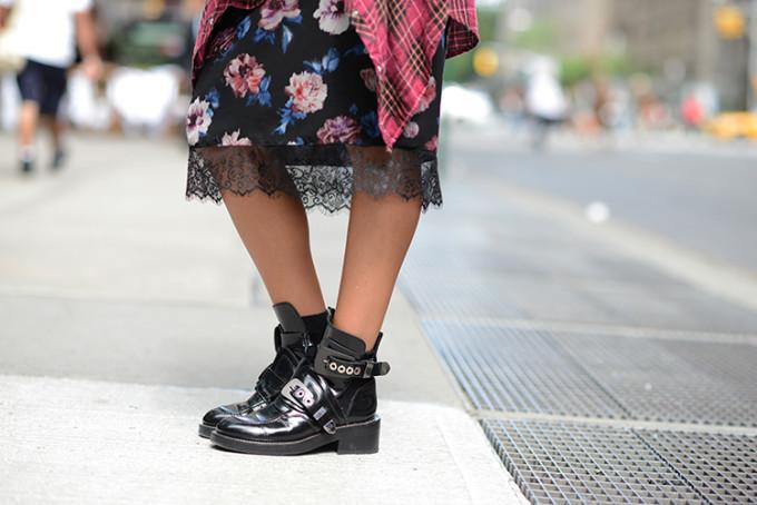 lace, floral print, balenciaga boots, nyc