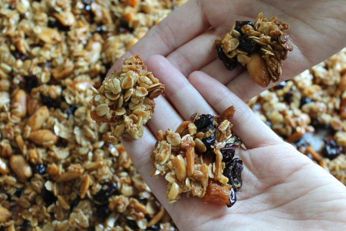 perfect clumpy granola dried fruit nuts clumps close-up_ glitterinc.com